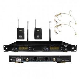 Microfono Inalambrico MXT MXT-9006-V, 60m UHF FM (PLL) Doble Canal Doble Microfono Tipo Vincha