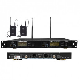 Microfono Inalambrico MXT MXT-9006-S, 60m UHF FM (PLL) Doble Canal Doble Microfono Tipo Solapero