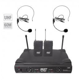 Microfono Inalambrico MXT MXT-58V, 60m UHF Doble Canal Doble Microfono Tipo Vincha