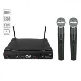 Microfono Inalambrico MXT MXT-58M, 60m UHF Doble Canal Doble Microfono de Mano