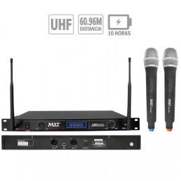 Microfono Inalambrico MXT MXT-2033, 60m UHF Doble Canal Pantalla LED Doble Microfono de mano