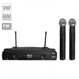 Microfono Inalambrico MXT MXT-2023, 60m VHF Doble Canal Doble Microfono de Mano