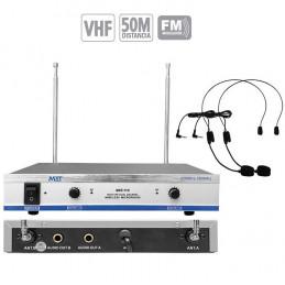 Microfono Inalambrico MXT MXT-11V, 50m VHF Doble Canal Doble Microfono Tipo Vincha
