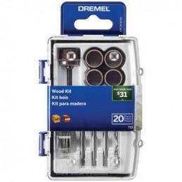 Kit Accesorios para Madera Dremel 733, 20 accesorios Micro Kit para Madera