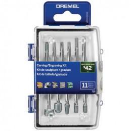 Kit Accesorios Tallar y Grabar Dremel 729, 11 accesorios Micro Kit tallado grabado