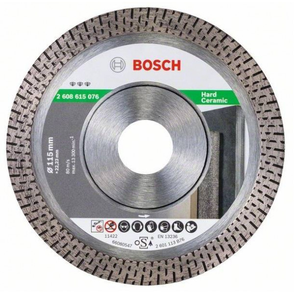 """Disco Diamante Best Bosch 4 1/2"""" x22.23mm 2608615076 para Cerámica muy Dura y azulejos"""