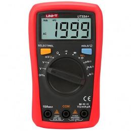 Multimetro Digital UNI-T UT-33A+, Compacto ACDC 600V 10A Resistencia Capacitancia Continuidad Diodo