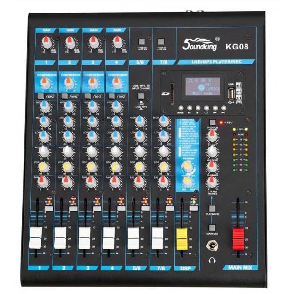 Mezcladora de Audio 8CH MP3 USB/SD, KG08 SoundKing