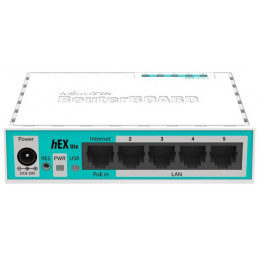Router Routerboard Mikrotik RB750r2 RouterBOARD hEX lite QCA9531 850MHz CPU, 64MB RAM 5 ports 10/100 RouterOS L4, PoE
