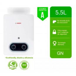 Terma a Gas Bosch Nueva Oxi 5.5L GN Eco Premium BAT No Requiere Ducto