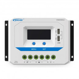 Controlador de Carga Solar PWM Epever VS6048AU LCD 60A,12/24/36/48V Auto 2USB5V