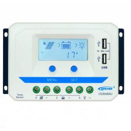 Controlador de Carga Solar PWM Epever VS3048AU LCD 30A,12/24/36/48V Auto 2USB5V