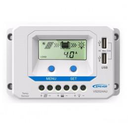 Controlador de Carga Solar PWM Epever VS2024AU LCD 20A 12/24V Auto 2USB5V