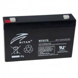 Bateria AGM VRLA Ritar RT670 6V 7.0Ah Terminal F1/F2 15.1x3.4x9.4cm