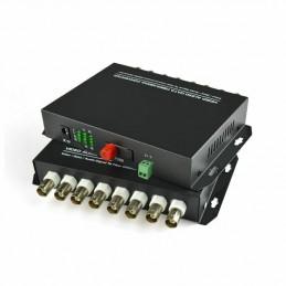 Media Converter 8V1D-S 8 Canales BNC a Fibra Optica 20KM SM FC Para Camaras Videos Inc. Transmisor y Receptor