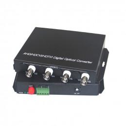 Media Converter 4V1D-S 4 Canales BNC a Fibra Optica 20KM SM FC Para Camaras Videos Inc. Transmisor y Receptor