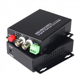 Media Converter 2V1D-S 2 Canales BNC a Fibra Optica 20KM SM FC Para Camaras Videos Inc. Transmisor y Receptor