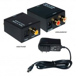 Convertidor Audio Optico A Analogo RCA, Incluye Cable Poder