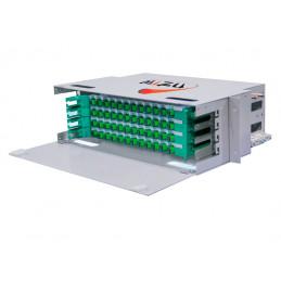 """Bandeja de Fibra Optica 48 Salidas SC/APC 4 inc. 48 Pigtail Bandejas Deslizables Para RACK 19""""x 3UR, Mizu MTB-RM-DR-12F-SA"""