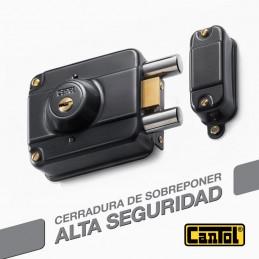 Cerradura Alta Seguridad Cantol S440 Negro 3Golpes 4LlavesDH 7Pines 2Pivotes Sin tirador Int-Ext Madera