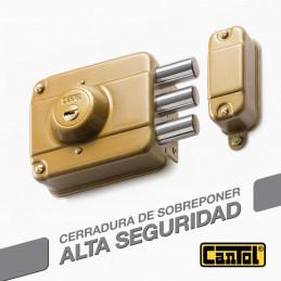 Cerradura Alta Seguridad Cantol Mega S330 Dorado 3Golpes 4LlavesDH 10Pines 3Pivotes Sin tirador Int-Ext Madera