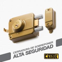 Cerradura Alta Seguridad Cantol Mega S990 Dorado 3Golpes 4LlavesDH 10Pines 2Pivotes Int-Ext Madera