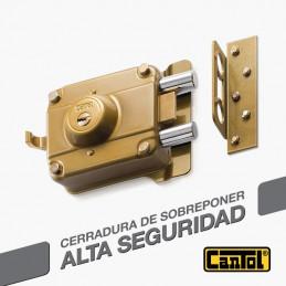 Cerradura Alta Seguridad Cantol Mega S880 Negro 3Golpes 4LlavesDH 10Pines 2Pivotes Pprincipal Madera
