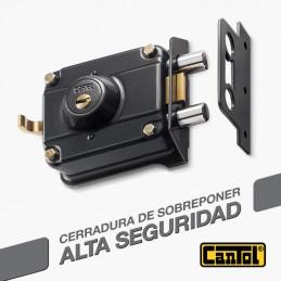 Cerradura Alta Seguridad Cantol Mega S770 Negro 3Golpes 4LlavesDH 10Pines 2Pivotes Pprincipal Madera Metal