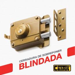 Cerradura Blindada Cantol S800 Negro 3Golpes 3Llaves 7Pines 2Pivotes Ext Madera