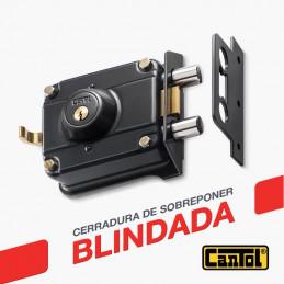 Cerradura Blindada Cantol S700 Negro 3Golpes 3Llaves 7Pines 2Pivotes Int-Ext Metal