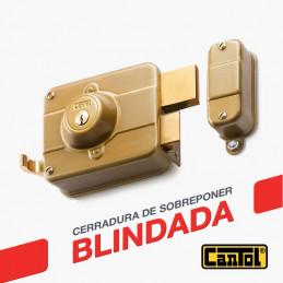 Cerradura Blindada Cantol S600 Dorado 3Golpes 3Llaves 7Pines 1Barra Int-Ext Madera