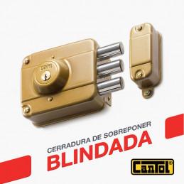Cerradura Blindada Cantol S300 Dorado 3Golpes 3Llaves 7Pines 3Pivotes Sin tirador Int-Ext Madera
