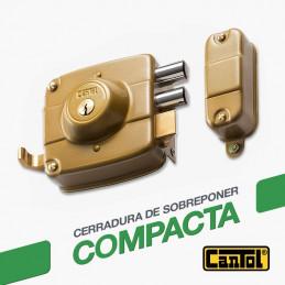 Cerradura Compacta Cantol SC120 Dcha Dorado 2Golpes 3Llaves 7Pines 2Pivotes Int-Ext Madera