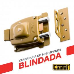 Cerradura Blindada Cantol Maxima M-1800 Dorado 3Golpes 3Llaves 7Pines 2Pivotes Pprincipal Madera