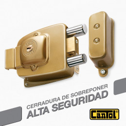 Cerradura Alta Seguridad Cantol Maxima M-1100 Dorado 3Golpes 4LlavesDH 10Pines 2Pivotes Pprincipal Madera