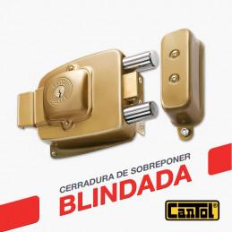 Cerradura Blindada Cantol Maxima M-1000 Dorado 3Golpes 3Llaves 7Pines 2Pivotes Pprincipal Madera
