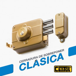 Cerradura Clasica Cantol C270 Dorado 3Golpes 3Llaves 7Pines 3Pivotes Int-Ext Madera