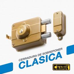 Cerradura Clasica Cantol C250 Dorado 3Golpes 3Llaves 7Pines 2Pivotes Int-Ext Madera