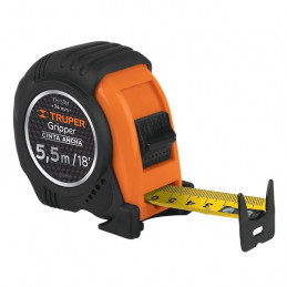 Wincha Flexometro Gripper 5.5 Metros, contra impacto TPR, cinta extra ancha, carcasa ABS, FH-55M 14613 Truper