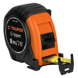 Wincha Flexometro Griper 8M con TPR, cinta medicion ambos lados, carcasa ABS, FH-8ME 15389 Truper