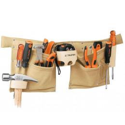Portaherramientas 13 Compartimientos de carnaza 1.7mm con Cinturon para maxima resistencia, POCA-13 11537 Truper