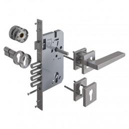 Cerradura de Embutir Forte Enigma 3G Cuadrado DER Acero Inox 3Golpes 4Pivotes