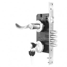 Cerradura de Embutir Forte Enigma 3G Onda IZQ Acero Inox 3Golpes 4Pivotes