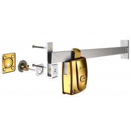 Cerradura Forte Tranca Dorado Metalizado 1.05m 3Llaves Pprincipal Madera Metal