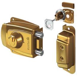 Cerradura Forte California Dorado 3Golpes 3Llaves 2Pivotes CSN PP Madera Metal