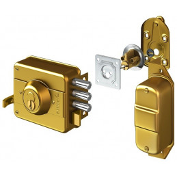Cerradura Forte Blindada 333 Dorado 3Golpes 3Llaves 3Pivotes CSN Ext Madera Metal