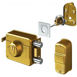 Cerradura Forte Clasica 240 Dorado 3Golpes 3Llaves 2Pivotes CSN PP Ext Madera Metal