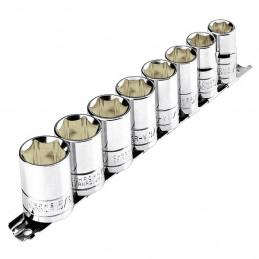"""Juego de 8 dados Milimetrico 13 mm a 24 mm, encastre 1/2"""", en acero al carbono, JD-1/2X9MM-P 21176 Pretul"""