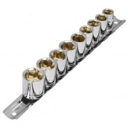 Juego de 9 dados en Milimetrico, Organizador con Clips, JD-3/8X10MM-P 21189 Pretul