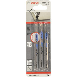 Hoja Caladora Bosch T118GFS x3pzas HSS Recto/Fino Inoxidable 2608636664